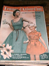 Femmes d'aujourd'hui N° 481 1954 Mode vintage 3 patrons Couture Broderie Robe