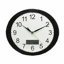 OVAL BLACK & WHITE WALL CLOCK WITH LED DIGITAL DAY, DATE AND MONTH.NEW & BOXED.