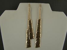 "Gold tone textured super extra 5.25"" long dangle earrings shoulder duster"