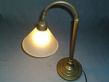 Vintage Table Lamp Laura Ashley Bronze Bent-Neck Frosted Glass Shade