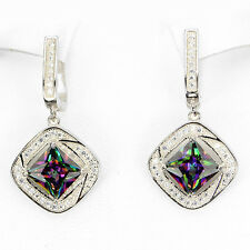 Silver 925 Princess Cut Green Purple Fire Genuine Mystic Topaz Dangle Earrings