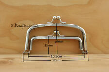 metal purse frame Double glue on clasp clip nickel 5 inch X 2 1/2 inch C23