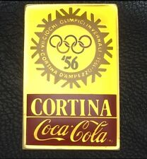 1956 Cortina~Coca Cola Olympic Poster Pin Badge~1988 Coke~NEW n Original Packing