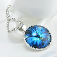 Vintage Butterfly blue Cabochon Silver plated Glass Chain Pendant Necklace H
