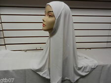 White One 1 Piece Big Plain Muslim Hijab Head Cover Wear Cover Scarf Slip-On