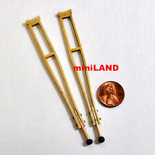 Miniature Wooden Crutches dollhouse Medical 1/12 Scale quality