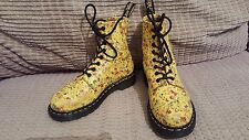 Dr. MARTENS size 4 YELLOW leather FLORAL ankle punk hippy festival