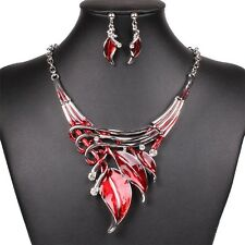 Red Oil Drop Leaves Crystal Pendant Silver Tone Necklace Stub Earring Set