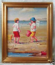 """Oil Painting on Canvas w/ Gold Antique Style Frame- Kids Playing In Sand 26x22"""""""