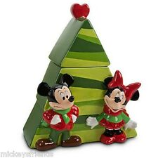 Disney Store Mickey & Minnie Christmas Tree Cookie Jar  *NIB*