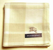 BURBERRY Handkerchief mini scarf bandanna Ivory Cotton Check Horse Mark Auth New