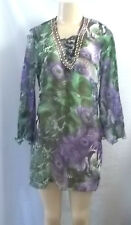 BEACH WEAR GREEN PURPLE PEACOCK SNAKE BEADED NECK COVER UP TOP BLOUSE SHEER S