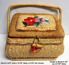 Vintage Retro Woven SEWING BASKET Box W/ Red Lining & Flowers on Lid