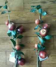 2 Artificial Fruit Apple Branches.80cm stem. for Autumn Christmas decoration etc