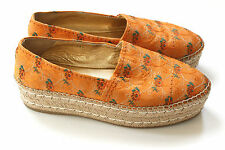 PRADA Espadrille Platform Orange Floral Canvas Flats 40.5 uk 7.5