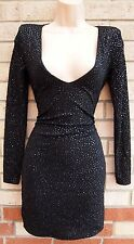 H&M BLACK MINI GLITTER SEQUIN SPARKLY LONG SLEEVE BODYCON TUBE PARTY DRESS 8 10