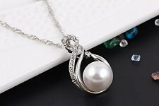 GirlZ! Silver Elegant Classic Pearl and Rhinestones Pendant and Earrings Set