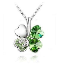 Shamrock Silver Necklace Green Crystal Pendant Irish Celtic St. Patricks Day USA
