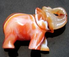 "2.8"" HUGE Lovely RED AGATE Crystal Carving Elephant"