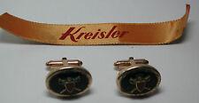 Antique KREISLER 12k Yellow Gold GF Oval Sword Shield Cuff Links Cufflinks #C34