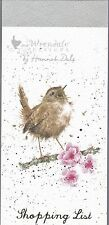 """Wrendale Country Set  Magnetic Shopping Pad Notebook List """"Bird Jenny Wren"""""""