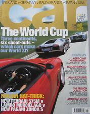 CAR 07/2002 featuring Audi RS6, Lamborghini, Ferrari, Zonda, Edonis, Bentley, MG