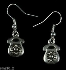 Hand Made  Silver Colour Telephone Earrings  HCE251