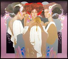 "Felix Mas ""Gold Mirror"" Hand Signed #ed Serigraph Art Print, Spain, Make Offer!"