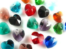 12pcs Mixed Color Glass Crystal Heart-Shaped Beads Spacer Findings 14mm Charms