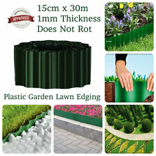15CM X 30M GREEN FLEXIBLE PLASTIC GARDEN GRASS LAWN EDGING BORDER PATH DRIVEWAY