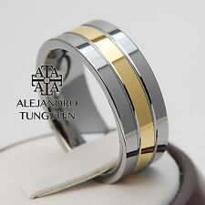 Tungsten Ring Wedding Men's Comfort Silver Band 8MM Gold Inlay Size 14 #PDD