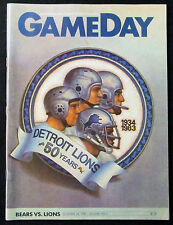 1983 CHICAGO BEARS vs DETROIT LIONS Football Game Program