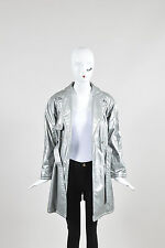 VINTAGE KIDS Young Versace Silver Double Breasted Trench Coat with Belt SZ 14