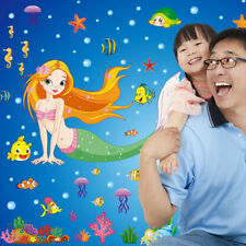 Lovely Mermaid Cartoon Decals Wall Stickers Mural Children Kids Home Room Decor