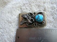 Vintage Nickel Silver Money Clip Turquoise