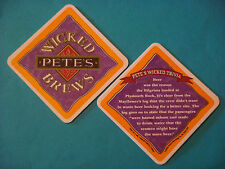 1996 BEER COASTER ~*~ Pete's Brewing Co Wicked Ale ~ Mayflower Crew Wanted Beer!