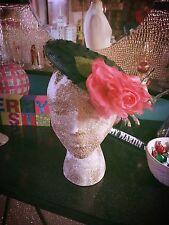 Vintage 1940s Hat Black Pink Floral Swing Rockabilly PinUp 40s 1950s 50s