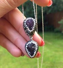 DESIGNER AMETHYST NECKLACE STERLING SILVER HANDMADE  DRUZY GEMSTONE JEWELRY GIFT