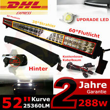 "52"" 288W LED Work Light Curved Offroad Bar For Jeep Truck ATV Lamp 9-32V 25360LM"