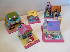 Vintage Polly Pocket Pollyville Street Houses & Shops Toy Compacts 1990s Set x 5