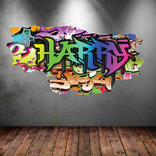 Full Color Personalizado 3d Graffiti nombre agrietada calcomanías de pared calcomanías Mural