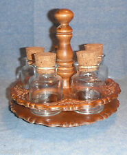 VINTAGE PRIMITIVE APOTHECARY JAR SPICE RACK CARVED WOOD HOLDER TABLE CAROUSEL