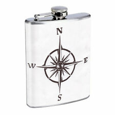 Vintage Compass Flask D6 8oz Stainless Steel Nautical Navagation Directions