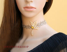 HANDMADE VINTAGE GOLD BUTTERFLY LEAF FLOWER LACE CHOKER WOMENS NECKLACE GIFT
