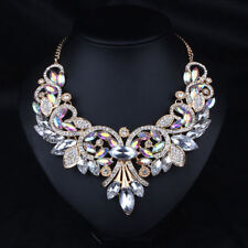 Rhineston Crystal Choker Rainbow Bib Statement Necklace Collar Bridal Jewelry
