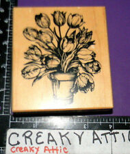 PSX TULIP BUCKET BOUQUET FLOWER RUBBER STAMP RETIRED K-1695