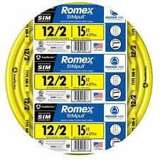 15' Roll 12-2 AWG NM-B Gauge Indoor Electrical Copper Wire Yellow Romex 20 Amp