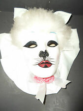 "MARDI GRAS CAT FACE MASK PORCELAIN H.PAINTED GLOSSY 10.5""T WALL HANG MULTI-COLOR"