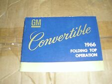 NOS 1966 CHEVROLET PONTIAC CADILLAC GM OLDSMOBILE CONVERTIBLE TOP OWNERS MANUAL