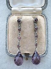 Lovely Edwardian/Deco Amethyst Crystal Screw Back Drop Earrings